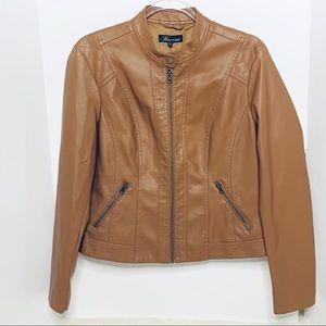 Baccini Vegan Leather Tan Jacket Large